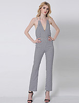 1287 Women's Polka Dot White JumpsuitsSimple Strap Sleeveless