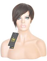 Короче человеческие волосы монолитным парики короткие прямые бразильские Hiar парики для женщин черный цвет 1b
