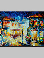Hand-Painted Modern Abstract Knife Streetscape Oil Painting On Canvas Wall Art For Home Decoration Ready To Hang