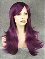 imstyle22'high качество фиолетовый прямые синтетические парики машина не нет кружева