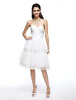 Lanting Bride® Linea-A Abito da sposa Al ginocchio A cuore Di pizzo / Tulle con Incrociato