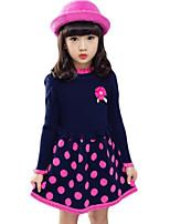 Vestido Chica de-Casual/Diario-Lunares-Algodón-Primavera / Otoño-Negro / Rojo