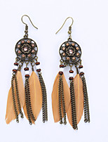 The European And American Fashion Tassel Earrings National Wind Restoring Ancient Ways Feather Earrings
