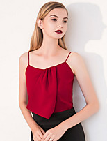 Débardeur Femme,Couleur Pleine Sortie simple Eté Sans Manches A Bretelles Rouge Polyester Opaque