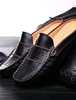 Herren-Loafers & Slip-Ons-Lässig-Leder-Flacher Absatz-Komfort-Schwarz / Blau / Weiß