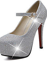 נשים-עקבים-עור נצנצים-פלטפורמה נוחות נעלי מועדון להאיר נעליים-כסוף-חתונה מסיבה וערב-עקב סטילטו פלטפורמה