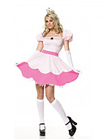 Cosplay Costumes Princess Halloween White / Pink Print Cotton Dress / Headwear