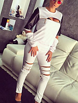 Women's Casual/Daily / Sports Street chic / Active Spring / Fall Set Pant Suits,Color Block Round Neck Long Sleeve White / BlackPU /
