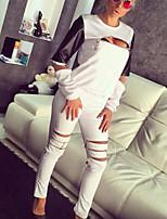 Set Pantalon Costumes Femme,Couleur Pleine Décontracté / Quotidien / Sportif Chic de Rue / Actif Printemps / Automne Manches LonguesCol