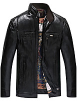Men's Casual/Daily Simple Leather Jackets,Solid Stand Long Sleeve Fall / Winter Black / Brown PU Thick
