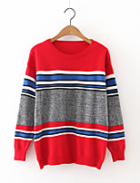Women's Going out Vintage Long Pullover,Patchwork Red / White / Black Round Neck Long Sleeve Cashmere / Polyester Fall Medium