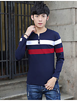 Men's Casual/Daily Simple Fall T-shirt Round Neck Long Sleeve Multi-color Cotton Thin