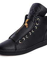 Men's Boots Spring / Fall Comfort PU / Leather Outdoor / Casual Flat Heel Zipper / Lace-up Black / White Others / Sneaker