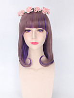Highlight Brown mixed Lavender Purple Color Fashion Lolita Synthetic Wigs