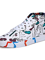 Синий / Белый-Унисекс-На каждый день / Для занятий спортом-Полиуретан-На плоской подошве-Удобная обувь-На плокой подошве