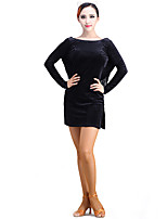 Latin Dance Dresses Performance Velvet Tassel(s) 1 Piece Long Sleeve Dress