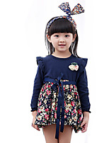 Girl's Casual/Daily Floral DressCotton Spring / Fall Blue / Green / Pink