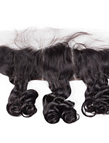 4x13 Closure Loose Curly Brazilian Human Hair Closure Free Middle 3 part Medium Brown Swiss Lace Frontal