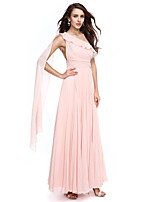 TS Couture® Prom  Formal Evening Dress A-line One Shoulder Watteau Train Chiffon with Sash / Ribbon / Side Draping / Ruching