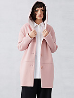 CARBAMMI  Women's Casual/Daily Simple CoatSolid Hooded Long Sleeve Fall / Winter Pink Wool / Polyester Opaque