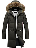 Men's Long Down Coat,Simple Casual/Daily Solid-Polyester Polyester / White Duck Down Long Sleeve Hooded Green