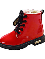 Girl's Boots Winter Comfort PU Outdoor / Casual Flat Heel Lace-up Black / Blue / Yellow / Red Walking