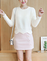 Women's Casual/Daily Cute Regular Pullover,Solid Pink / White / Orange / Purple Round Neck Long Sleeve Polyester Fall / Winter Medium