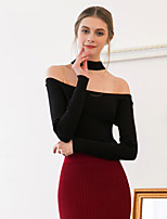 MASKED QUEEN  Women's Going out Sexy / Simple Regular PulloverSolid Black Halter Long Sleeve Cotton
