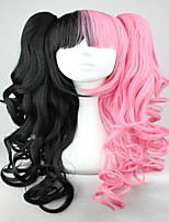 Pink And Black 70cm Classical Anime Wavy Braided Lolita Cosplay Wig
