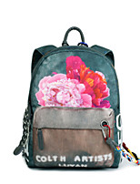 Casual Outdoor Backpack Women Canvas Green Yellow Gray