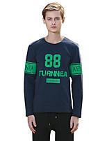 Herren T-shirt-Druck / Buchstabe Freizeit / Sport Baumwolle Lang-Blau