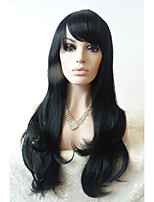 Sylvia Synthetic Lace front Wig Natural Black Heat Resistant Long Natural Wave With Bangs Synthetic Wigs