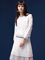 Tee-shirt Femme,Broderie Sortie simple Automne Manches Longues Col Arrondi Blanc Nylon Moyen