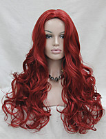 Fashion sexy no bangs skin top dark red long wavy synthetic full wig cosplay