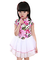 Girl's Going out Floral DressCotton Summer Blue / Green / Pink / White / Beige