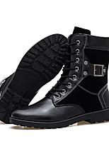 Черный-Мужской-На каждый день-Кожа-На плоской подошве-Удобная обувь-Ботинки