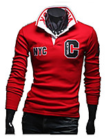 Men's Casual/Daily Simple Fall / Winter T-shirtLetter Shirt Collar Long Sleeve Red / Gray / Green Cotton Thick