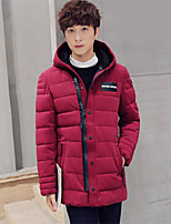 Men's Padded Coat,Street chic Plus Size Solid-Polyester Polypropylene Long Sleeve Hooded Blue / Red / Black / Green