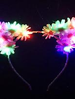 flash de arco-íris levou acender ouvidos florais do gato com daisyflower branco gatinho earsariana grandeedcravemeow
