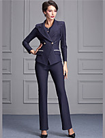 Women's Casual/Daily Street chic Fall Set Pant Suits,Solid V Neck Long Sleeve Blue / Black Polyester Medium