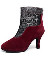 Customizable Women's Dance Shoes Flocking Flocking Latin / Dance Boots Boots Stiletto HeelPractice / Beginner / Professional / Indoor /