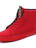 Herren-Sneaker-Outddor Lässig Sportlich-PU-Flacher Absatz-Komfort-Schwarz Rot