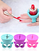 1pcs Nail Art Finger Ring Style Gel Polish Varnish Wearable Flexible Silicone Holder Stand