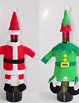 bouteille de vin couvre ensembles partie christmas santa vêtements de chapeau de noël pour noël bouteille cadeau nouvelle année rouge