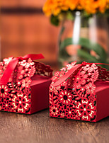 12 Piece/Set Red Laser Cut Floral Favor Box With Ribbon