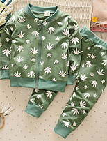 Boy's Casual/Daily Floral Clothing SetCotton Spring / Fall Black / Green