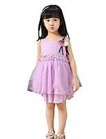 Girl's Casual/Daily Solid Dress,Blended Cotton Summer Sleeveless