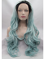 Sylvia Synthetic Lace front Wig Black Roots Green Hair Ombre Hair Heat Resistant Long Natural Wave Synthetic Wigs