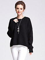 Women's Going out / Casual/Daily / Holiday Simple / Street chic Regular Pullover,Solid Black Round Neck Long Sleeve Cotton / AcrylicFall