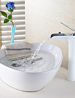 Contemporary Centerset Waterfall with  Ceramic Valve Single Handle One Hole for White Painting  Bathroom Sink Faucet